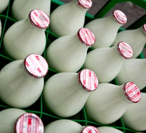 UK Semi-skimmed pasteurised, homogenised milk in glass bottles