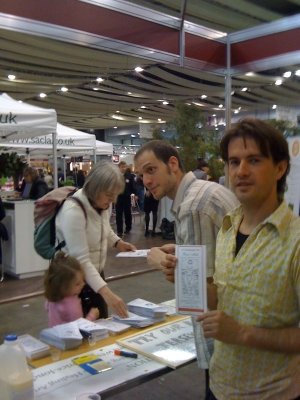 Handing out samples of raw milk at the Real Food Show in London